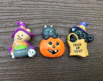 Vintage Russ Halloween Bear Witch Kitty Cat Pin Brooch Lot of 3
