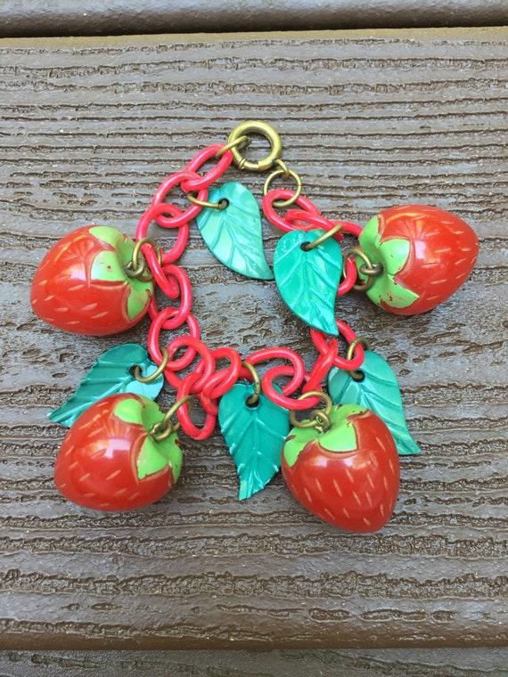 Vintage Jewelry Bakelite Strawberries Bracelet on
