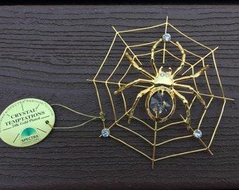 Vintage Swarovski Spectra Crystal Temptations Halloween Spider in Web