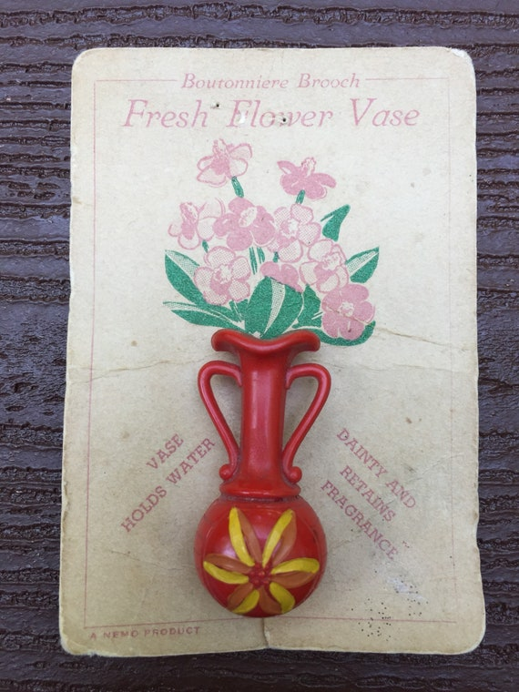 Vintage Jewelry 1940s Flower Vase Pin Brooch New On Card Etsy