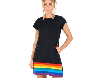 4a799035a74 New Women Bohemian RAINBOW short sleeve hippie dress with pockets up to PLUS  size