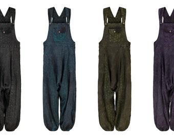 Womens Natural Cotton Overalls Lightweight Plain Festival Dungarees Harem Pants