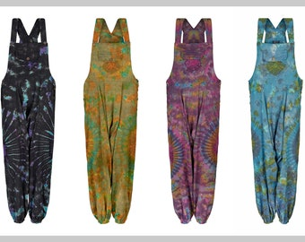 2b00cde2765 New Hippie Tie dye harem dungarees with pockets festival clothes unisex hippy  clothing up to PLUS size XXL