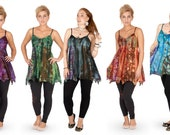 Lace PIXIE TOP, hippie pointy top, fairy top, festival clothes, pagan handfasting top PLUS size purple black green red blue