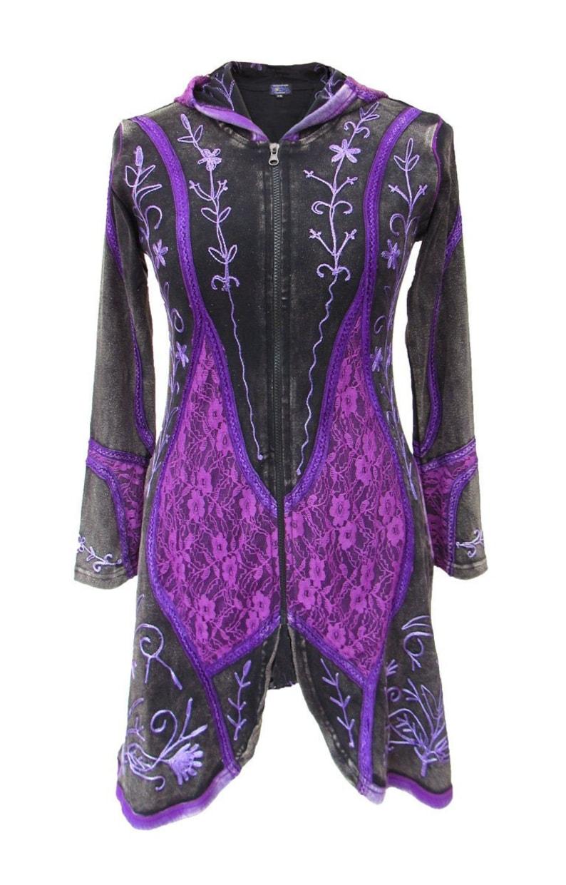 New Elven Style Embroidered Velvet Jacket Long Pixie Hood Boho Coat