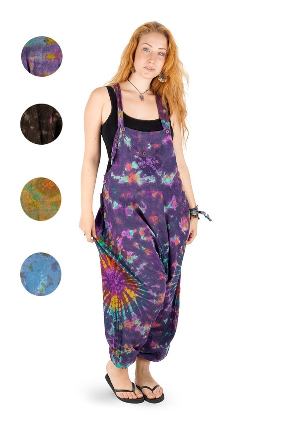 0ca088088a357 New Hippie Tie dye harem dungarees with pockets festival clothes unisex  hippy clothing up to PLUS size XXL