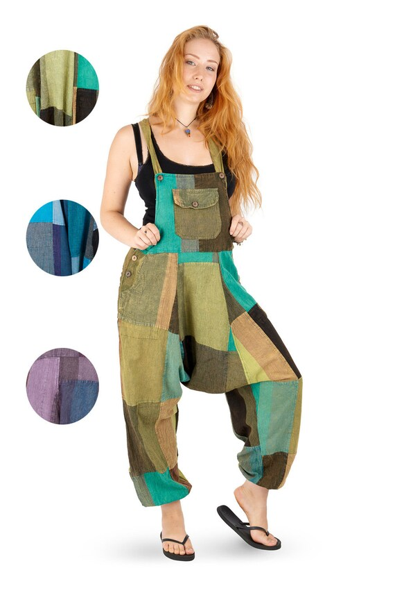 New Patchwork Harem Dungarees Hippie Trousers up to Plus Size
