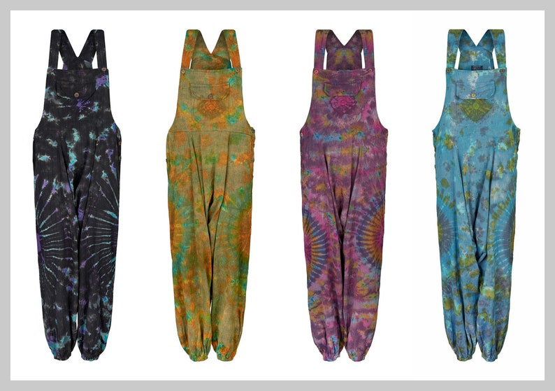 27877cf78bfc New Hippie Tie dye harem dungarees with pockets festival