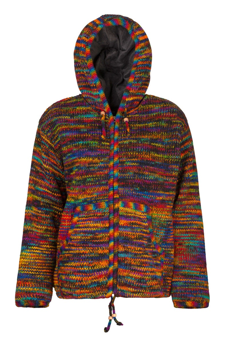69fdc1e24 Unisex dark rainbow wool jacket with hood