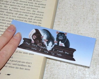 Rat Bookmark, Funny Bookmark, The more people I meet, the more I love my rats, Book Mark for Rat Lovers