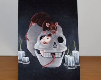Rat in a Skull Greetings Card, Halloween, Spooky Card, Human Skull and Rats, Agouti, Grey and Siamese Rat Varieties, Great for Rat Lovers