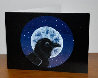 Raven Greetings Card, Crow Greetings Card, Corvid Greetings Card - Blank inside for your own message