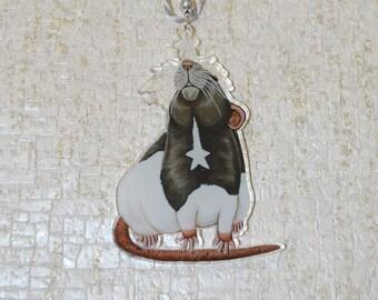 Star Gazing Rat Decoration, Hanging Rat Decor, Festive Gift, Christmas Tree Decoration, Star Rat Art Acrylic Charm, Rat Lovers