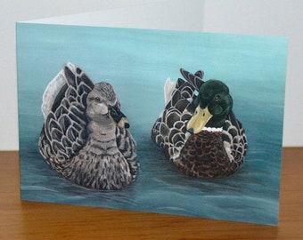 Mallard Ducks Greetings Cards, Duck Artwork, Duck Greetings Card, Wildlife Greetings Card