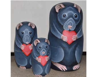Russian Blue Rat Set - Stacking Russian Dolls with Rat Theme Grey Rats - Set of Three - Hand Painted in Acrylics on Wood