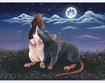 Rat Friends Art Print, Acrylic Artwork Print by Anna Tipton, A4 in Size, 210 × 297 millimeters/8.27 × 11.69 inches, Rat Room, Rat Gift