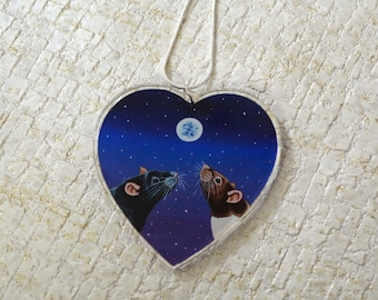 Heart Rat Pendant, Pet Rats Necklace, Heart Shaped Charm, Moonlight Themed, Great for Rat Lovers