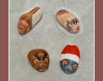 Rat Pebbles, Hand Painted Minis, Winter, - Teeny Pebbles Painted in Acrylics to Look Like Pet Rats - Gift Idea, Memorial - Various Varieties