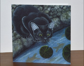 Black Cat Watching Fish Pond Greetings Card - Square card blank for your own message - Cat Lovers