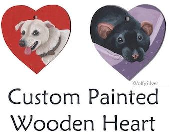 Custom Painted Wooden Heart, Any Pet Painted, Hangable, Pet Portrait, Cat, Dog, Rat, Rodent, Rabbit, Degu, Guinea Pig (Cavy), Hamster etc