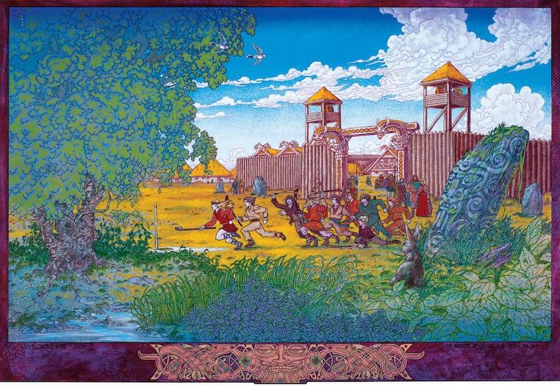 CELTIC FANTASY PRINT DERDRIU AND THE SONS OF UISLIU 16x11 By Jim FitzPatrick