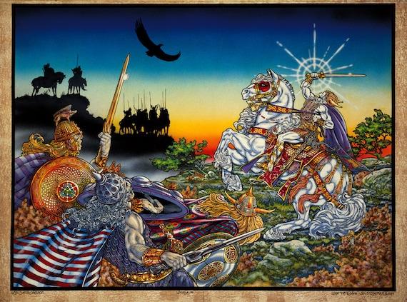 CELTIC IRISH FANTASY ART PRINT NIGHTLIGHT 16x11 By Jim FitzPatrick