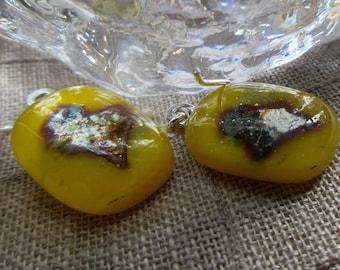 Yellow silver strip fused glass earrings