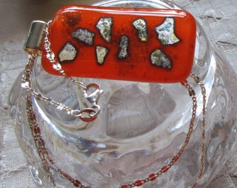 Red silver leaf fused glass pendant