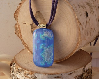 Purple snowflake fused glass pendant