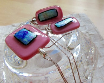 Pink dichroic swirl fused glass necklace and earrings