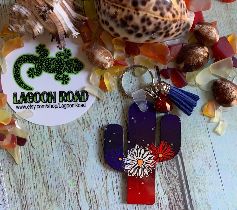 Patriotic Red White and Blue flowers on Blue and Red Cactus Tag Style Bag Tag or Keychain