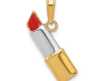 c0229b3ac 14k & Rhodium Enameled Lipstick Charm New Pendant Yellow Gold