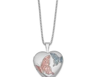 Sterling Silver Rhodium-plated 16mm Enameled Butterfly Heart Locket