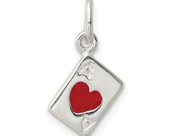 Sterling Silver Ace Of Hearts Card Charm Pendant