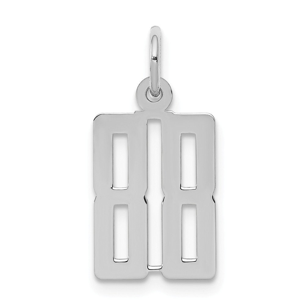Beautiful Sterling silver 925 sterling Sterling Silver Rhodium-plated Small Satin Number 7 Charm