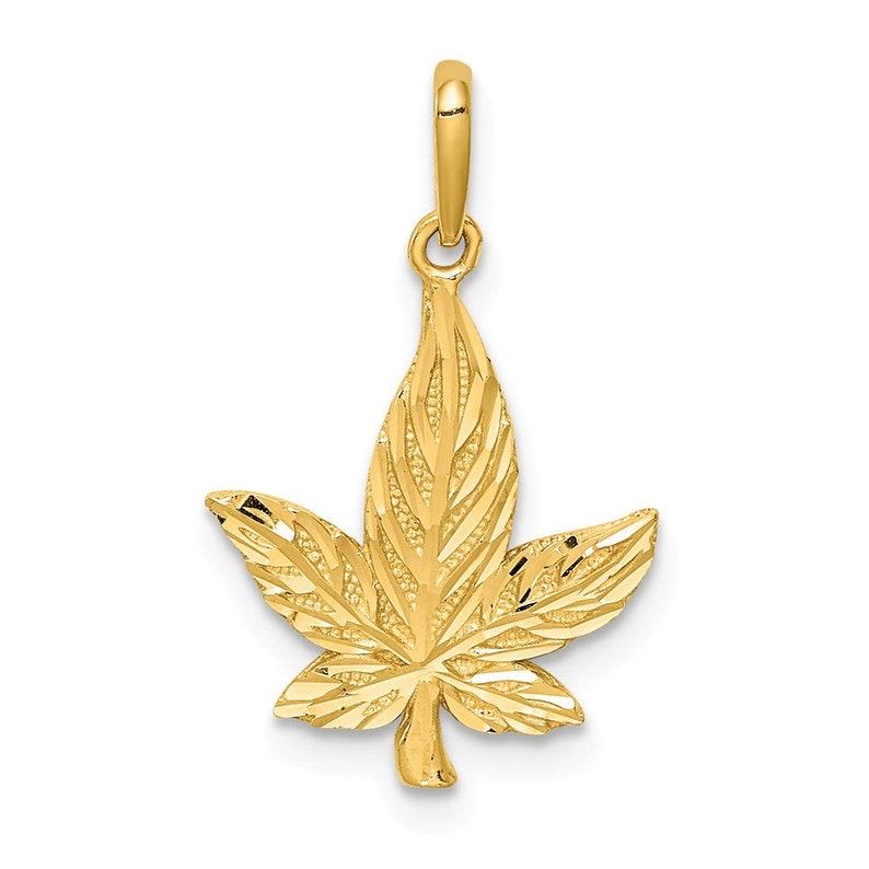14K Diamond-Cut Leaf Pendant New Charm Yellow Gold