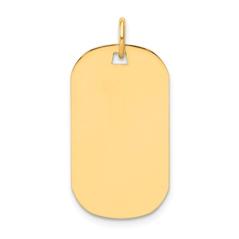14k Yellow Gold Plain .018 Gauge Engraveable Dog Tag Disc Charm