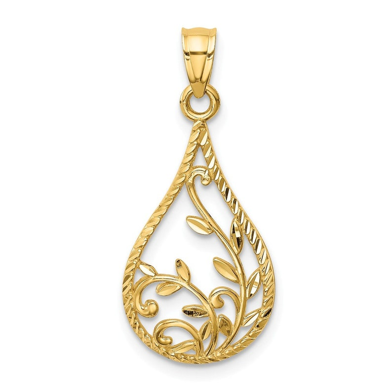 14K Leaf Dangle Pendant New Charm Yellow Gold