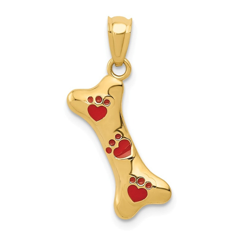 0.71 in x 0.55 in 14K Gold Yellow Gold Dog Bone with Red Enamel Paw Prints Pendant