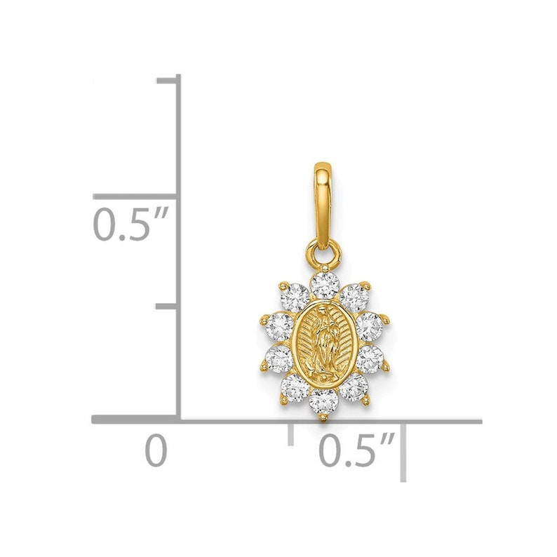 14K Our Lady of Guadalupe CZ Pendant New Charm Yellow Gold