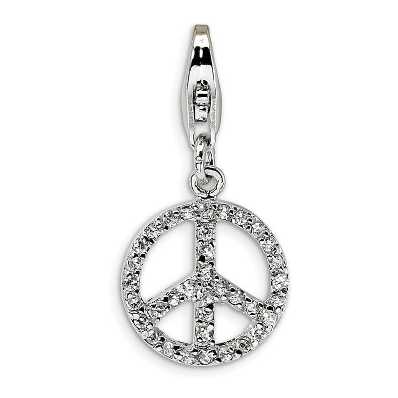 Sterling Silver Small CZ Peace Sign wLobster Clasp Charm New Pendant