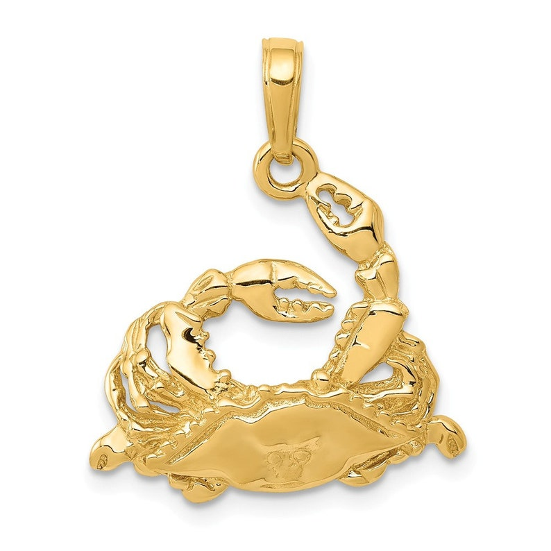 14k Polished Open-Backed Blue Crab Pendant New Charm Yellow Gold