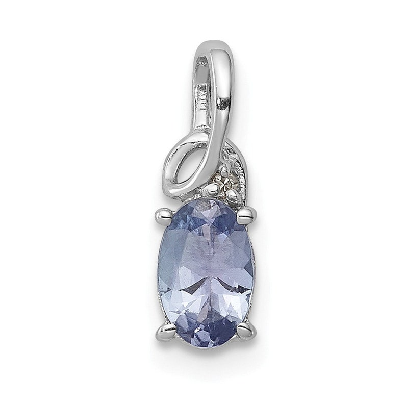 Sterling Silver Rhodium Plated Diamond Tanzanite Oval Pendant New Charm