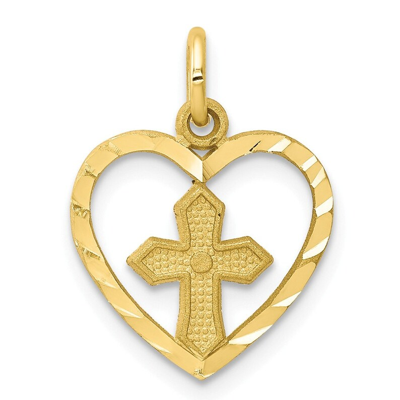 10k Cross Charm New Religious Pendant Yellow Gold