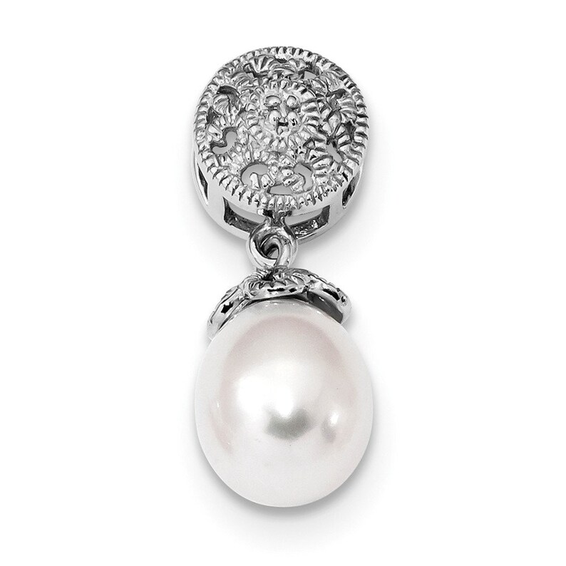 Sterling Silver Rhodium-plated wDiamond and FWC Pearl Pendant New Charm