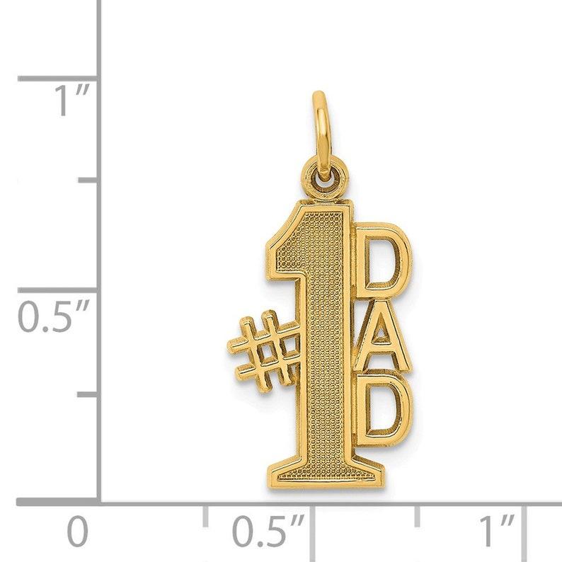 14k #1 Dad Charm New Pendant Yellow Gold