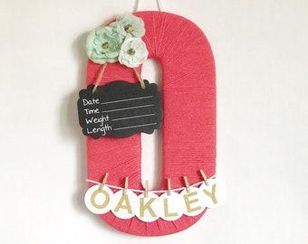 Hospital Door Hanger Girl / Nursery Door Decor / Letter O / Baby Girl Door Hanger / Coral Nursery / Baby Shower Gift / Door Decoration