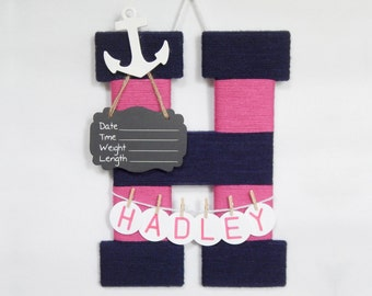Hospital door hanger / Baby shower gift / Nursery decor / Personalized baby girl name / Birth announcement ideas / Anchor