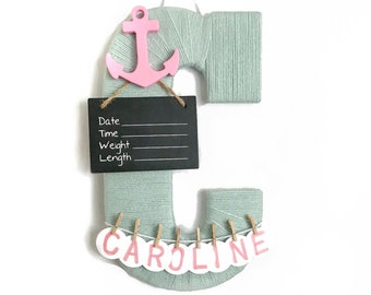 Hospital Door Hanger Girl / Nursery Door Decor / Letter C / Baby Girl Door Hanger / Anchor Nautical Nursery / Baby Caroline