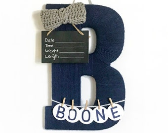Hospital Door Hanger Boy / Nursery Door Decor / Letter B / Baby Boy Door Hanger / Yarn Letter / Baby Shower Gift / Door Hanger